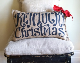 Kentucky Christmas Burlap Pillow (or your custom state) - state pillow