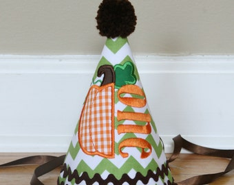 Pumpkin First Birthday Hat - Orange, green, and brown fall party set - Free personalization