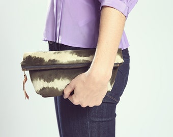 The Heidi Pouch ///// Suede Tie Dye Pouch. Boho Clutch. Luxury Cosmetic Bag. Organizer Pouch. Army Green. Charcoal Tie Dye.