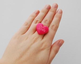 Cute hot pink barbie emo punk lolita heart ring