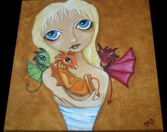 Whimsical Fantasy Art Painting - Mother of Dragons - Khaleesi Game of Thrones