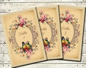 Tallulah - Vintage Victorian Love Birds and Roses - Printable DIY Wedding Table Numbers 1-25 - Customized Wedding Table Numbers