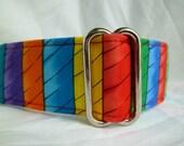 Warm Wags Ribbon Rainbow Stripes Martingale Collar