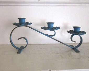 Metal Taper Candle Holder - Teal Blue