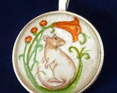 Decorative Hooded Rat with Flowers Pendant or Key Ring Unique Wearable Art for the Rat Lover