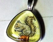 Squirrel on Green Pendant OOAK Wearable Art Perfect for the Squirrel Lover or Rehabber