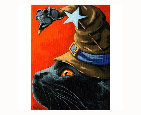 CAT in the HAT black cat and mouse fall season Halloween print from original oil painting