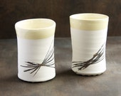 Reserved for Helen C. PAIR linear pattern cups