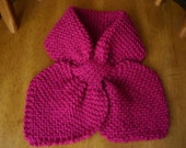 Knitted Oriental Orchid Color Bow Tie Scarf/Neckwarmer wool and acrylic yarn