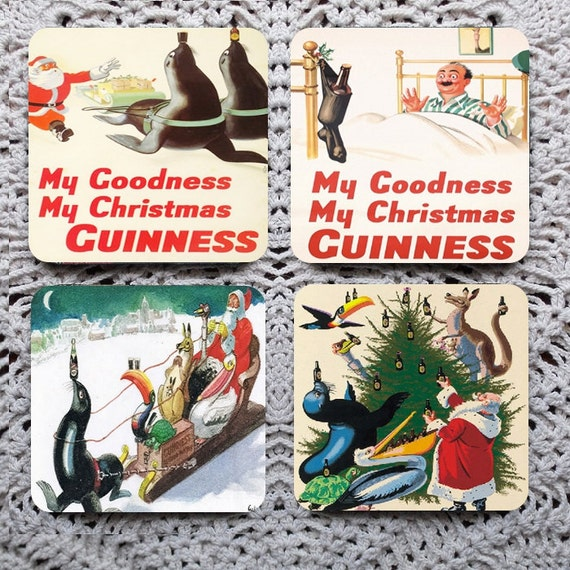 My Goodness, My Christmas Guinness -- Vintage Advertising Mousepad Coaster Set
