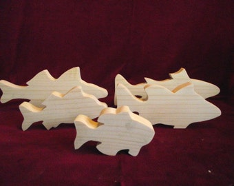 Freshwater Fish Assortment of 5 Unfinished Pine Cutouts