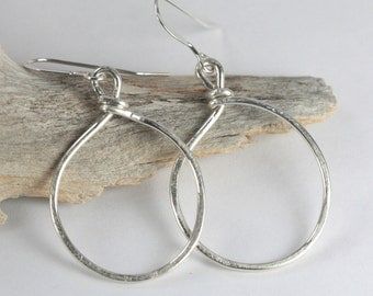 Hammered Sterling Silver Circle Hoop Earrings, Sterling Silver Hoop Earrings, Sterling Silver Earrings [#765]