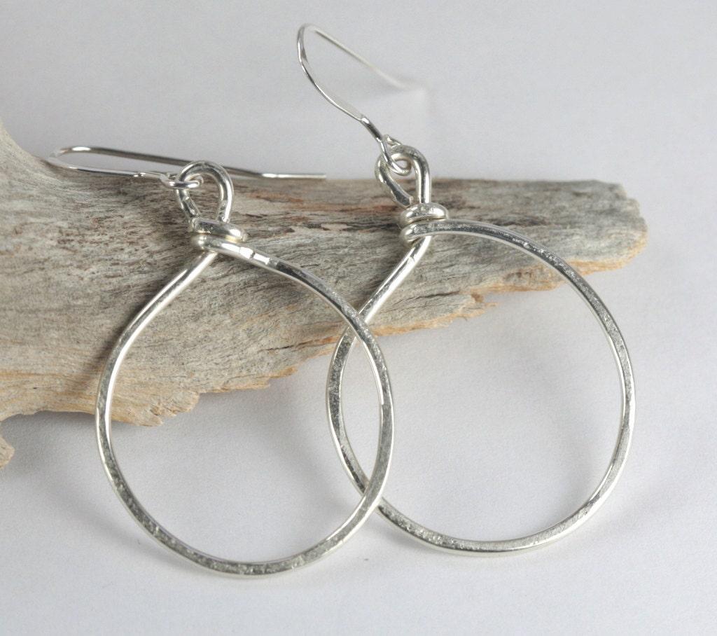 Hammered Sterling Silver Circle Hoop Earrings By Theresarose