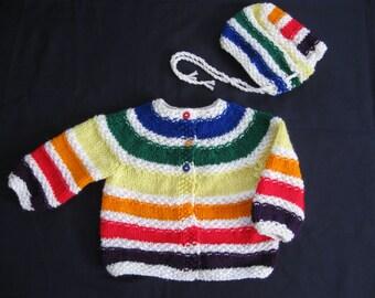 Handknit Baby Dark Rainbow Sweater and Hat Set