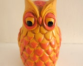 VINTAGE Paper Mache OWL Bank