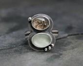 Ocean Scene Sterling Silver Ring, Sea Glass & Scenic Agate, One of a Kind, Plume Dendritic Agate, Hawaiian Jewelry, Deep Sea
