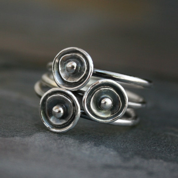 Sea Anemone Stacking Rings Sterling Silver, Silver Drops, Set of Three, Stackable Rings, Hawaiian Jewelry, Maui Hawaii