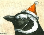 Party Penguins no 5 (in a series)African Penguin- ACEO signed PRINT