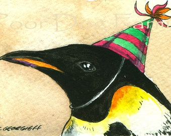 Party Penguins no 6 (in a series)Emperor Penguin- ACEO signed Print