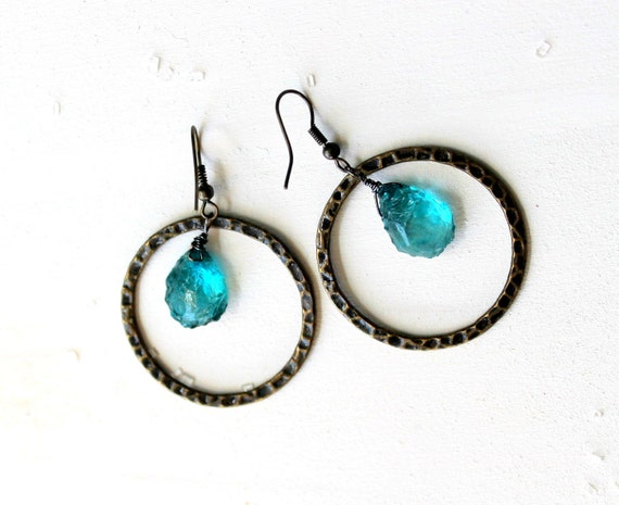 Teal Blue Earrings, Raw Quartz, Hoop Earrings, Antique Brass, Organic, Rough Cut, Boho Chic, Earthy, Natural, Blue Green Stone Briolette