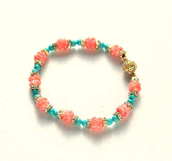 Coral Turquoise Bracelet, Peach and Aqua, Resort Jewelry, Swarovski Crystal, Magnetic Clasp, Sparkly, SALE