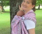 Ring Sling Baby Sling Carrier - 100% Linen Paisley Jacquard - DVD included
