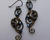 Wire and Beads Filigree Earrings -- Black/Antique Brass Spiral Wire Wrapped Filigree Earrings, Black and Hematite Faceted Beads