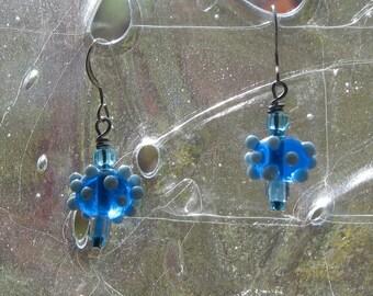Blue Lampworked Bead Earrings
