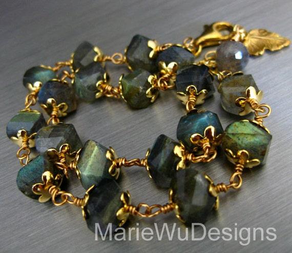 2 Strand-Blue Gold Fire Labradorite 14k Gold Fill Adjustable Bracelet
