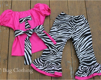 Custom Boutique Clothing Pink Zebra Personalized  Peasant Pant Outfit size 12 18 24 2t 3t 4t 5t 6 7  girl