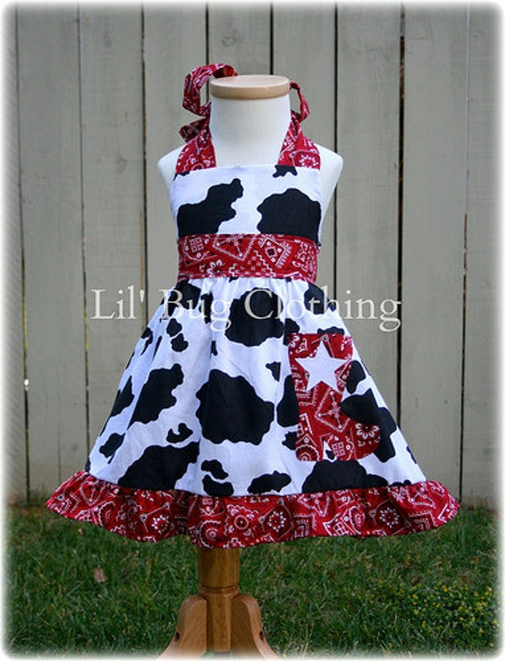 Western Wear Rodeo Dress, Cow Print Red Bandana Dress, Western Wear Pageant Dress, Cowgirl Boot Halter Dress, Boutique GIrl Clothes