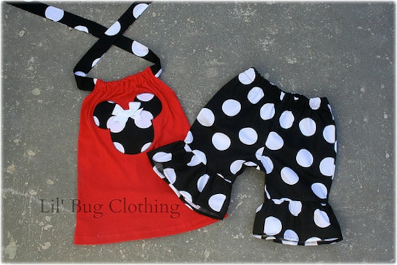 Minnie Mouse Girl Outfit, Minnie Mouse Birthday Girl Outfit, Disney Girl Short & Top Outfit, Black White Red Minnie Mouse Outfit,
