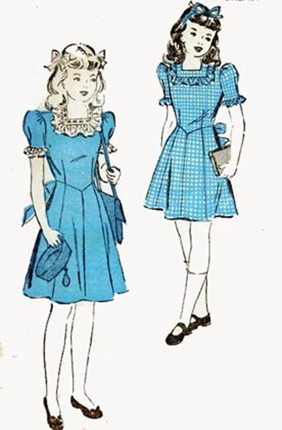 1940s Girls Frilly Sunday Frock/Dress Advance 4677 Swing Era 40s Vintage Sewing Pattern Size 6