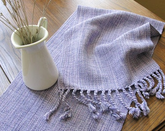 MADE TO ORDER HandWoven Table Runner Table Decor Pale Hydrangea Blue Purple Cotton Hand Woven
