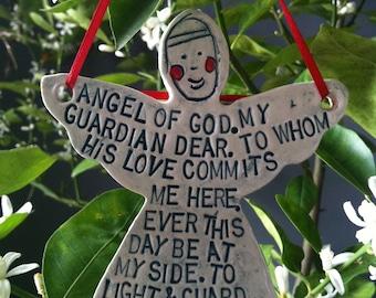Porcelain Guardian Angel Prayer Ornament