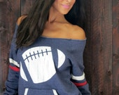 Football Wide Shoulder Girly Sport Sweatshirt.  Three Colors to Choose From.  Sizes M-XL.