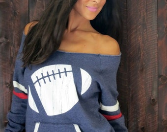 Football Wide Shoulder Girly Sport Sweatshirt.  Navy Blue with Red and White Stripe.  Sizes M-XL.