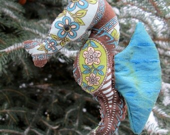 Seahorse Softie Ornament (brown paisley/turquoise)