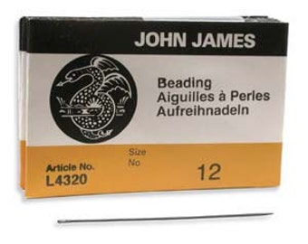 Size 12 John James English Beading Needles---Pack of 25