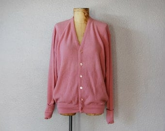 vintage 1960s slouchy oversized MAUVE button up v neck cardigan sweater