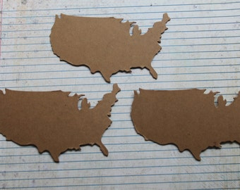 3 USA Map Geography die cuts bare chipboard 4 3/4 inches wide