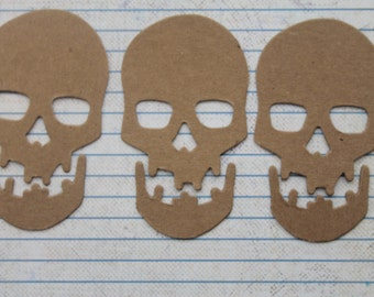 3 Bare chipboard Small Skull and Jaw 2 piece Diecuts