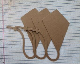 3 Bare chipboard kite diecuts 4 5/8 inches wide