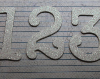 Wedding Table Numbers 1-15  3 inch Glitter both sides WHITE Glittered paper diecuts