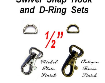 "20 SETS - 1/2"" - WRISTLET Hardware, Purse Strap Clip, 1/2 Inch D ring and 1/2 Inch Swivel Trigger Snap Lobster Claw Hook, .5"