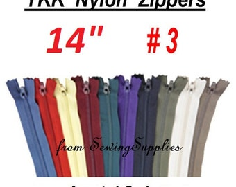 "27 ZIPPERS - 14"" - YKK Nylon Zippers - 14 inch -Special Promotion, Assorted Package"