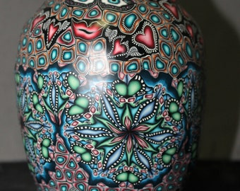 Large Beautiful Millifiori Polymer Clay Covered Glass Vase