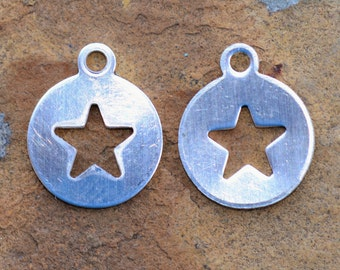 Sterling Silver 9x11mm Star Cutout Circle Disk Charm - Pick Your Bulk Price