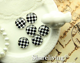 Glass Cabochon, 8mm 10mm 12mm 14mm 16mm 20mm 25mm 30mm Round Handmade photo glass Cabochons  (Dots) -- BCH232S