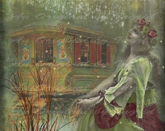 Gypsy Dreamer Digital Collage Greeting Card (Suitable for Framing)